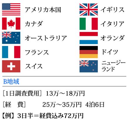 横浜 ダルタン調査事務所 海外調査 費用目安 B地区