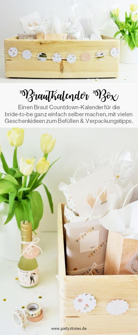 DIY Brautkalender- finde Ideen für einen Braut Countdown Kalender als Geschenk zum selber machen, mit Tipps zum Befüllen und Verpackungsideen // gefunden auf www.partystories.de // #diyHochzeit #Brautkalender #geschenkidee