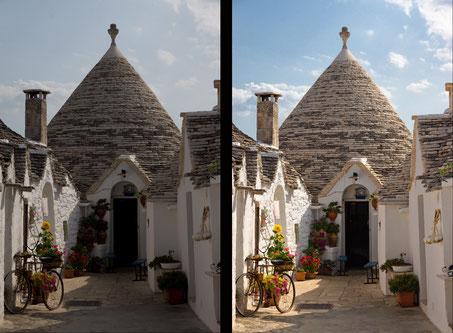 """Alberobello, il Trullo in Raw e in jpeg dopo lo """"sviluppo"""" tramite software"""