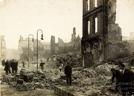 Photograph after the burning of Cork by British forces, 1920.