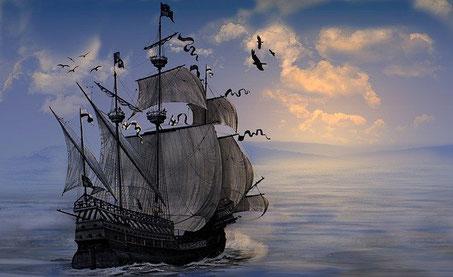 大海原を進む船