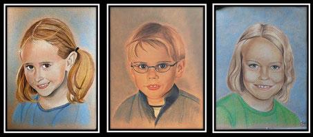 Farbkreidezeichnung, Farbportrait nach Fotovorlage, Personenportrait farbig zeichnen, Farbzeichnung Portrait, farbiges Portrait, Portraitzeichnung in Farbe, Kinderportraits Kreidezeichnung