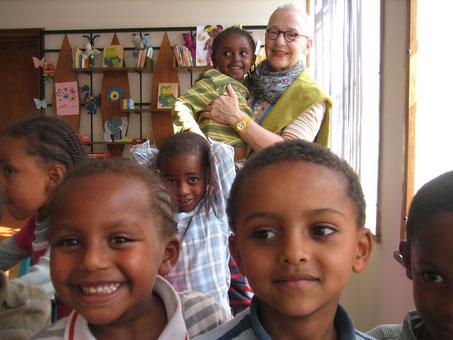 Antje in der Vorschule, Addis Abeba 2010