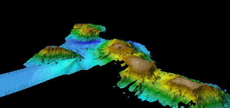 Multibeam mapping of seamount chain, image from CSIRO