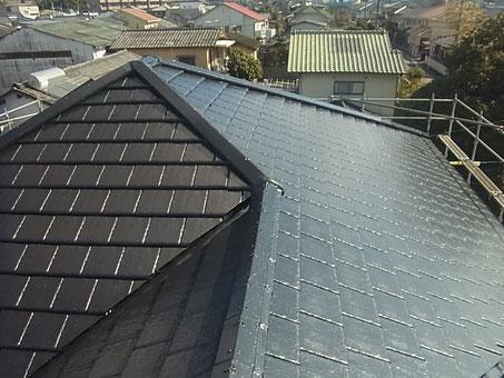 熊本市K様家の屋根塗装完成全体写真。