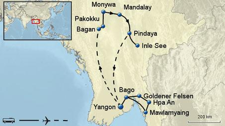 ausführliche Rundreise Myanmar in kleiner Gruppe max 12 Gäste deutschsprechende Reiseleitung vor Ort sowie alle Transfer inclusive Stadtrundfahrten, Spaziergänge, Besichtigungen mit Eintrittsgeldern