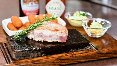 Schweinefleisch auf dem heissen Stein, Restaurant Rössli Dürrenast Thun