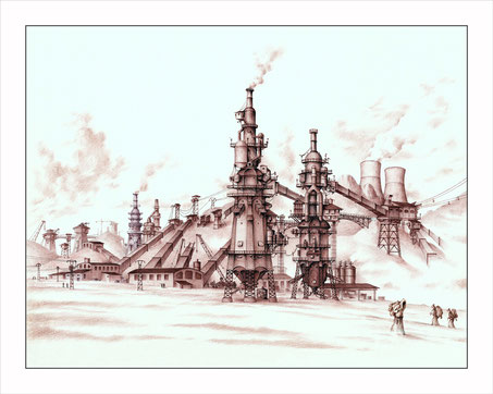 drawings, ballpoint pen drawings, fantasy architecture, fantastic structures, fantasy art, drawings by Spanish artists, blast furnaces, planeta 5000, video, Carlos Solis
