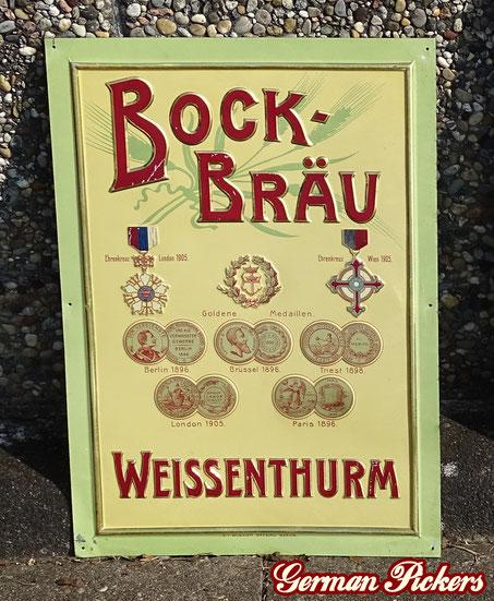 Bock - Bräu Weissenthurm - Blechschild  Koblenz Weissenthurm um 1910  Hersteller Wiskott Breslau Berlin, 52 x 35 cm