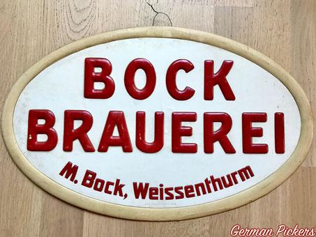 Bock - Bräu Weissenthurm - Pappaschild  Koblenz Weissenthurm um 1900  Hersteller Carl Thomas Plakatfabrik Cöln , 49 x 31 cm