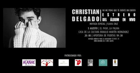 Concierto benéfico de Christian Delgado en La Palma a favor del acoso escolar en Canarias - ACANAE