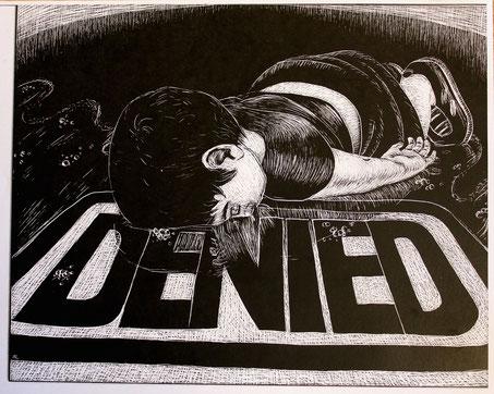 Cartoon eines syrischen Flüchtlings auf einem Denied Schild liegend