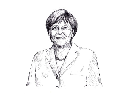 Gezeichnetes Portrait von Angela Merkel