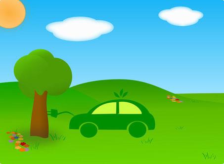Zeichnung mit Auto an Baum angeschlossen