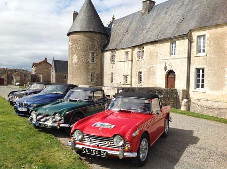 Triumph TR4 cars at the stopover -  Chateau Saveilles - Saveille - Group Castle Tour - Family Castle Tour - Renaissance Castle