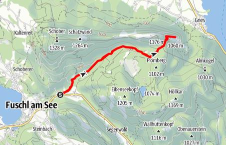 Routenverlauf über die Eibenseestraße auf den Drachenwand Gipfel