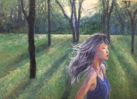 「語りかける緑」 日本画 333×242mm