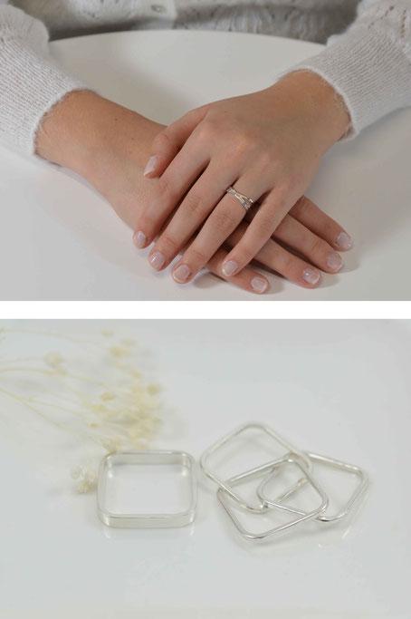 bague quadra q02- alliance or blanc