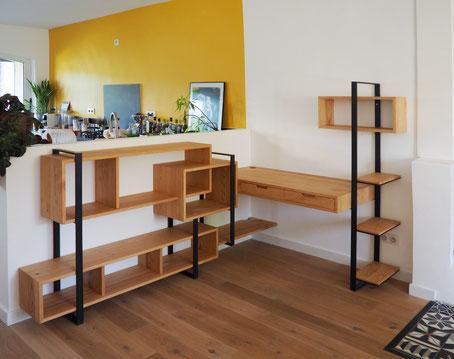 bureau bibliothèque sur mesure bois et métal