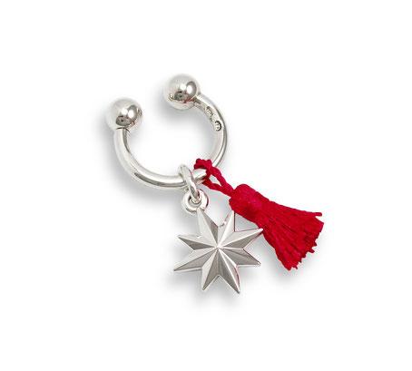 Silber Schlüsselanhänger Stern Windrose