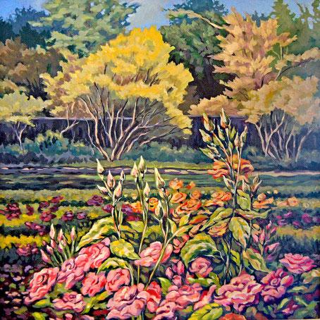 "New Bedford Rose Garden - acrylic on cradled wood panel - 24"" x 24"" x 1"""