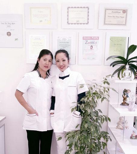 Geschäftsführende Gesellschafterin Frau Trieu Thi Thuy Ngan (links) mit ihrer qualifizierten Mitarbeiterin Frau Minh Tam (rechts)