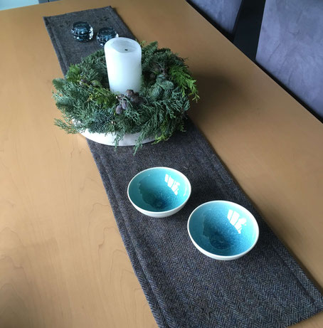 Table runner made of Harris Tweed and bowls purchased at Crail Pottery