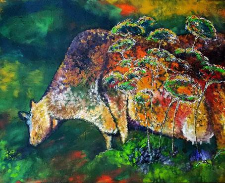 Kuh Marie - Öl auf Leinwand - 70 x 100