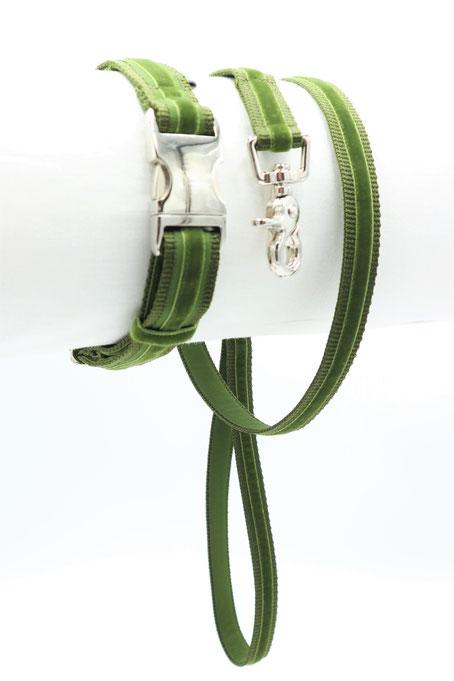 Halsband Mitzi&Max 25 grün; Stadtleine grün in silber
