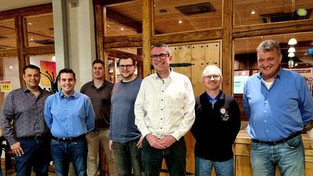 v.l.n.r. Ingrid Curth, Landtagskandidat Andreas Rey, Kreisvorsitzender Timo Lübeck, Andreas Thon, Wolgfang Curth, Stefan Nieding, Michael Klotzbach