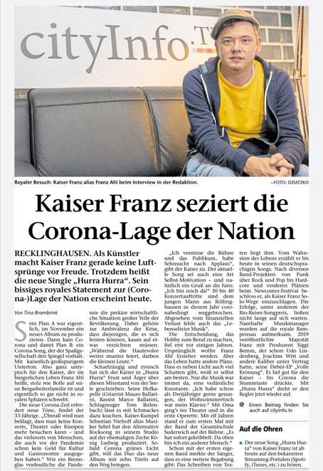 Recklinghäuser Zeitung 11.12.2020  ©Tina Brambrink, Foto: Julia Dziatzko