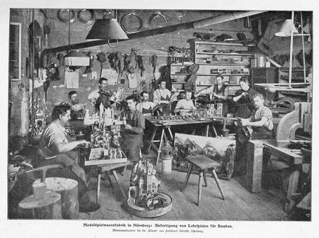 """Blick in die """"Mechanische Blechspielwaaren-Manufaktur G.L. Staudt"""", Fotograf ist Ferdinand Schmidt, fotografiert 1899.      >zoom<"""
