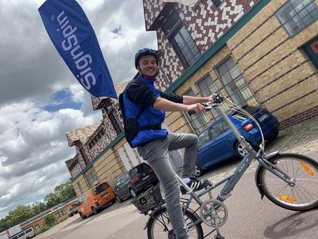 SignSpeeder auf Fahrrad - Mobiles Marketing