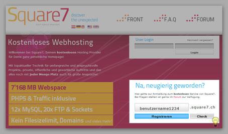 Quare7.ch kostenloser Webhoster