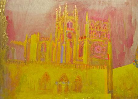 11.-Catedral de Burgos. Mixta sobre Lienzo.Visible con luz negra. 110x80cm