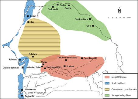 Fig. 1/ « Provinces » archéologiques du Sénégal (d'après B. Chavanne 1985; DAO : A. Delvoye).