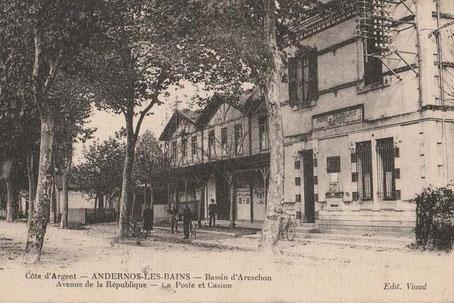 La salle de cinéma Casino, boulevard de la République, au début du siècle dernier à Andernos-les -Bains,