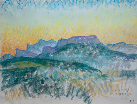Marthe Flandrin - Le massif de Saôu à l'aube, vue de la terrasse