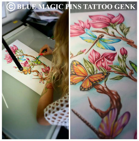 Blue Magic Pins tattoo custom design tattoo Genk Belgium