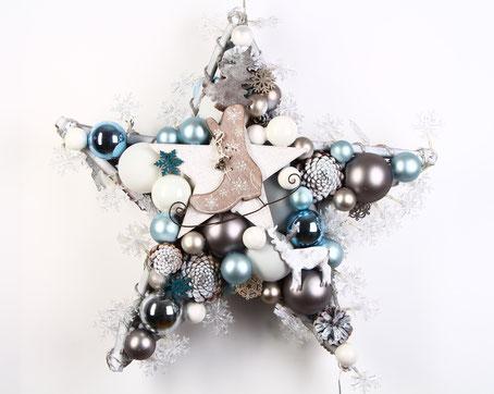 Stern Fensterschmuck in weiß - braun - hellblau