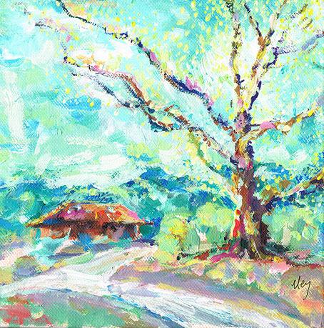 Stella am Lietzensee mit Frühlingsbaum 30 x 30 x3,5 cm  VERKAUFT