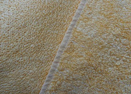 Handtuch aus Bambus Viskose: Links: ungewaschen, Rechts: einmal gewaschen