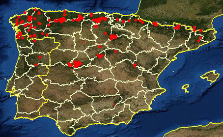 Distribución de Menyanthes trifoliata en la península Ibérica (extraído de www.anthos.es)