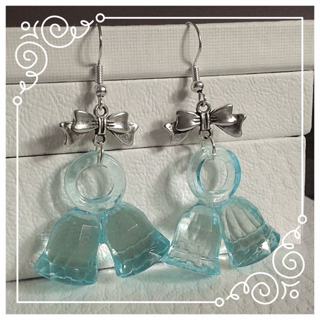 Blue Christmas Bell earrings with silver bows