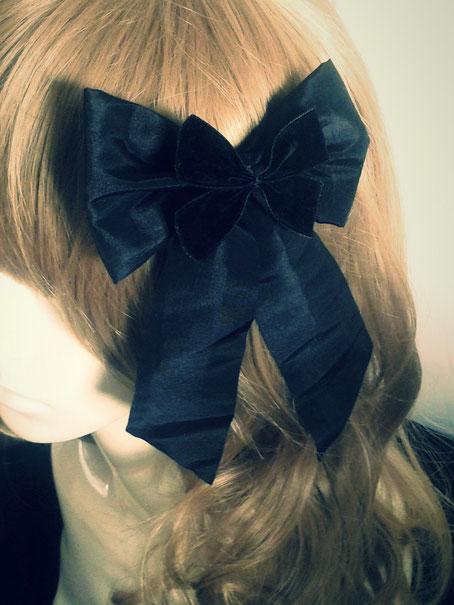 Large Black Lace Lolita Bow