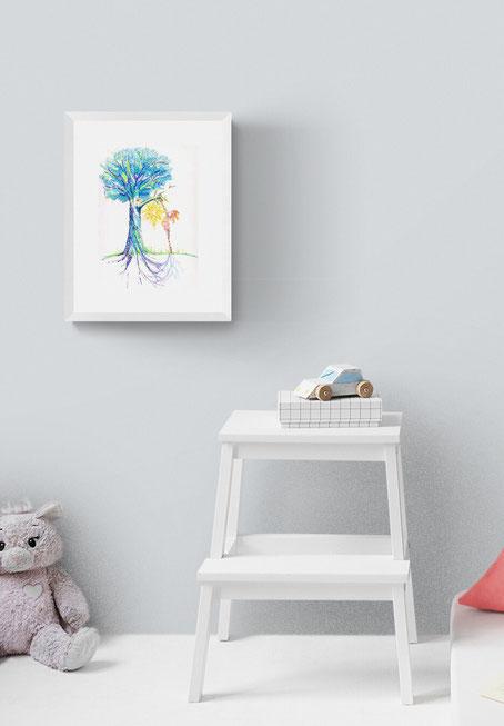 severine saint-maurice, les cercles de lumiere, illustration bien-être, dessin bien -être, dessin spiritualité, vente achat dessin peinture, oeuvre originale, illustration enfant, papier canson, arbre