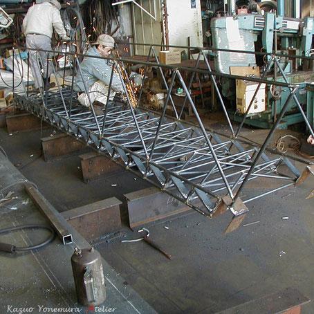 鉄骨階段製作(工場にて)