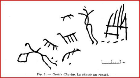 grotte Chuchy : chasse au renard (source : bulletin préhistorique de France ainsi que les deux autres illustrations)