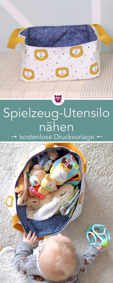 Spielzeugutensilo nähen für Babys und Kleinkinder – DIY Stoffkörbchen für Spielsachen. Perfekt für Ordnung im Wohnzimmer mit Kind oder für das Kinderzimmer. Nähanleitung mit kostenlosem Schnittmuster von DIY Eule.