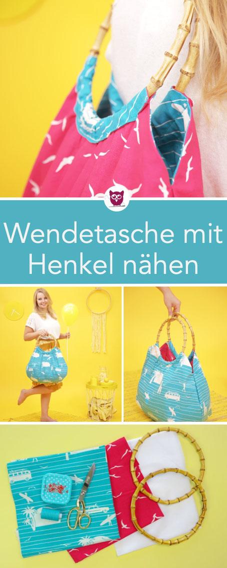#HenkeltascheHailey aus dem #DIYeuleBuch : Nähanleitung für eine Wendetasche mit Bambushenkeln. Die Tasche ist sehr einfach zu nähen und perfekt für Nähanfänger. Die Taschenhenkel machen sie zu einer  Sommertasche. Schnittmuster + Anleitung von DIY Eule.